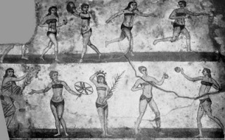 Bikini-girls-of- Roman-villa-del-Casale-near-Piazza-Armerina,-Ancient-Rome
