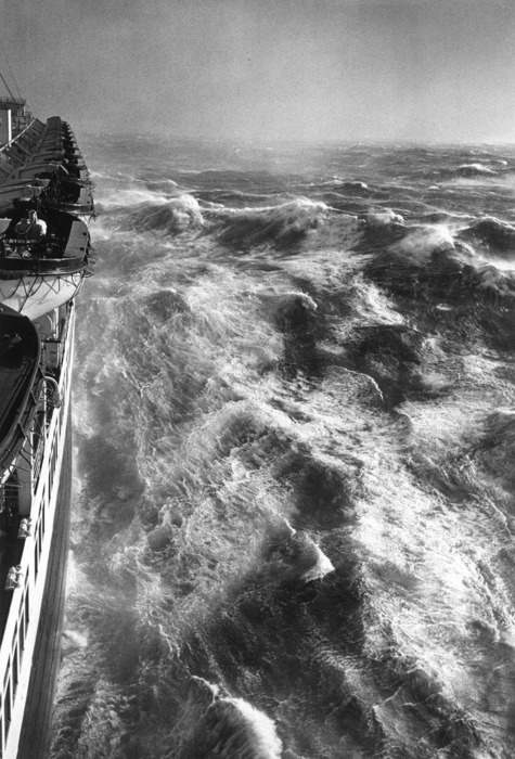Hurricane in the Atlantic 1948 photographed from the Queen Elizabeth